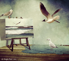 I Dream my Painting and then i Paint my Dream ... Van Gogh. (rubyblossom.) Tags: seagulls seascape texture water painting wooden floor background drip van gogh challenge 47 easel 2016 rubyblossom pareeericas rubystreasures