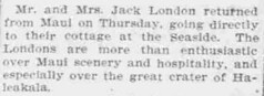 Jack London Returned from Maui (UH Manoa Library) Tags: news history vintage hawaii newspaper ad books historic advertisement historical microfilm dns digitization digitisation chroniclingamerica ndnp