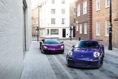 Purple. (stolemykeys) Tags: london 911 porsche lamborghini sv roadster gt3rs aventador