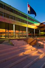 _DSC2241 (durr-architect) Tags: light sun colour reflection netherlands glass architecture modern facade offices almere dfense berkel unstudio