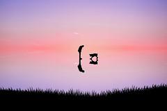 Discovering Reflection (the_wonderer_wanderer) Tags: sunset dog man reflection art water landscape fine silouhette