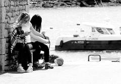Girls on the quay (patrick_milan) Tags: street people blackandwhite bw white black monochrome noir noiretblanc nb rue blanc personne streetview gens