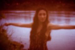 Pinhole 5 (SkylerBrown) Tags: pink woman water girl female river colorful pretty hipster pinhole indie dreamy brunette hazy sacramentoriver jaclynmendoza