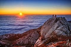Sea Above the Sea (TranceVelebit) Tags: sunset sea people sun mountain clouds hiking low croatia peak summit limestone karst kuk adriatic dalmatia paklenica velebit dinaricalps paklenicanp vidakov