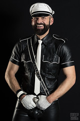 Mr. Leather Europe 2015 (Thorsten) (WF portraits) Tags: portrait white man black male smile leather shirt fetish studio beard belt model europe tie gloves cap aut gayleather mrleather