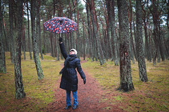 """""""Marry Poppins"""" descending (Ilia A) Tags: trees nature forest umbrella outdoor path mother human descend 2470mm canon70d"""