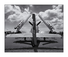 EAA - AirVenture 2015 - All Folded Up (NikonD3xuser1(Thanks for 1.4 million visits)) Tags: usa monochrome wisconsin airplane wings nikon fighter eaa d810 airventure2015