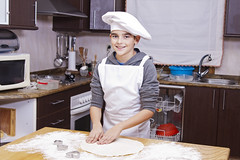 child cooking at home (pruden2009) Tags: family people food white cute cooking kitchen beautiful cookies hat childhood cake kids studio children bread fun happy baking kid funny baker child little expression dough young cook lifestyle happiness apron chef bakery flour making preparation confectionery nutrition preparingbreadtable