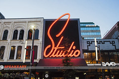 Studio Records - Vancouver (Naomi Rahim (thanks for 2 million hits)) Tags: street city travel sunset canada sign architecture night vancouver lights twilight neon bc theatre britishcolumbia illumination granvillestreet 2016 travelphotography granvilleentertainmentdistrict studiorecords