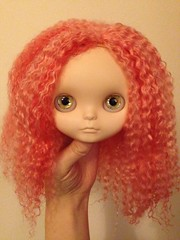 WOW! Just finished this reroot and her hair is HUGE! (vintagecitygem) Tags: pink wip curly blythedoll fbl mohairreroot hugehair customooak simplyvanilla