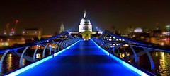 blue (poludziber1) Tags: city bridge blue urban london church night river colorful capital challengeyouwinner