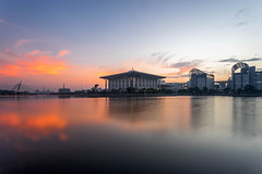 Sunrise at Iron Mosque (HakiimMislam) Tags: morning sky cloud lake reflection water sunrise canon buildings landscape sony wideangle mosque 1740 sonya7