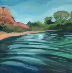 verde river near confluence of tavasci marsh (EllenJo) Tags: art painting cottonwood verderiver 2016 acryliconcanvas localcharacter deadhorseranchstatepark ellenjo ellenjoroberts january2016 april2016artshow oldtowncottonwoodartshow