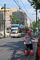Street Sweeper, Istanbul, June 2011 (David Rostance) Tags: turkey tram istanbul streetsweeper bombardier flexityswift divanyolucd