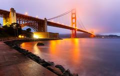 Golden Gate Bridge (Damien Borel) Tags: ocean sanfrancisco california longexposure bridge mist clouds lights goldengatebridge goldengate waterreflection boblastic damienborel