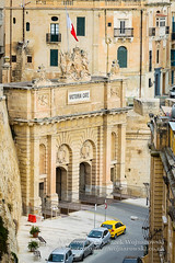 Victoria Gate, Valletta top right view (Jacek Wojnarowski Photography) Tags: auto road street old city winter urban building history car vertical architecture facade vintage gate europe outdoor top transport streetphotography landmark malta right front retro transportation vehicle baroque valletta 6x4 buildingexterior baroquerevivalarchitecture bulitstructure