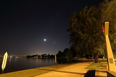 Moon, Venus and Mercury (blachswan) Tags: moon water reflections dawn venus australia victoria planets ballarat mercu lakewendouree olympicmemorial olympicrowingcourse planetalignment 1956olympicmemorial dawnreflections