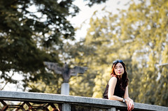 In the dream (Hatoriz) Tags: park bridge summer portrait woman tree cute nature girl beautiful beauty up female asian happy model warm outdoor background dream young happiness dreaming thinking dreams