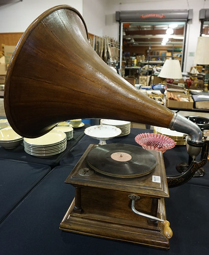 Victrola table top phonograph with wooden horn $495.00