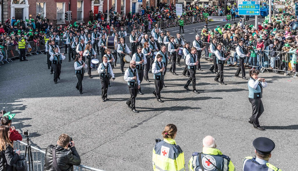 Bagad de Vannes Melinerion Brittany [St. Patrick's Parade In Dublin 2016]-112387