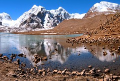 Gurudongmar Lake..... A Hidden Treasure of The Himalayas (pallab seth) Tags: travel sky panorama india mountain lake snow cold tourism nature beautiful beauty digital wonderful landscape religious nikon asia tour place wind peak buddhism tibet divine stunning coolpix hinduism sikkim p3 prayerstone northsikkim nikoncoolpixp3 nikonp3 tibetianplateau gurudongmar gurudongmarlake pallabseth highestfreshwaterlakes