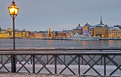 Christmas in Stockholm (Franz Airiman) Tags: christmas bridge winter snow ice boat ship sweden stockholm christmastree gamlastan oldtown skeppsholmen teaterskeppet skeppsholmsbron