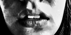 Lips (Andrea Gutierrez Canales) Tags: shadow blackandwhite byn face dark natural teeth lips labios bodypart rostro dientes