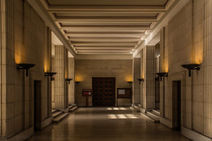 London   |   Inside Senate House (JB_1984) Tags: artdeco interior hallway hall lights uplighters lamp senatehouse universityoflondon university universitycollegelondon ucl schoolslavoniceasteuropeanstudies ssees bloomsbury londonboroughofcamden london england uk unitedkingdom nikon d7100 nikond7100 explore explored