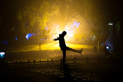 Playing With Light (H.B. Sim) Tags: light shadow people mist fog dark fun outdoors person lights nikon play outdoor taiwan  lightfixture  cingjing nantou  nantoucounty cingjingfarm taiwanroc hbsim smallswissgarden nikond3300 d3300