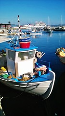 Greek Harbour (Dave G Kelly) Tags: blue vertical outdoors boat day harbour greece