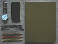 Notebook, Phone, Watch, Black-framed G
