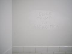 Exile (BurlapZack) Tags: white bathroom graffiti availablelight knife restroom handheld scrawl trump scratch opinion pack06 politicalcommentary dentontx modestproposal makeamericagreatagain rustytaco vscofilm 35denton olympusmzuiko17mmf18 drumpf election2016 olympusomdem5markii exiletrumptoantarctica