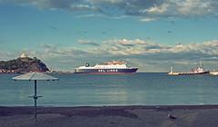 The Ferry gets ready to leave - Myrina Harbour Lemnos ( Olympus OMD EM5 & mZuiko 12-50mm Zoom) (Silver Efex filter) (markdbaynham) Tags: island greek cross zoom hellas evil olympus greece gr process zuiko omd csc mz limnos hellenic m43 zd mft lemnos myrina 1250mm em5 f3563 mirrorless micro43 microfourthird mzuiko m43rd