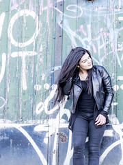 Nathalie, Amsterdam 2016: A hair moment (mdiepraam (35 mln views)) Tags: portrait girl beautiful dutch amsterdam graffiti pretty nathalie brunette elegant leatherjacket roest 2016 oostenburg naturalglamour