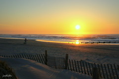 morning on the beach (judecat (getting back to nature)) Tags: ocean sea sunrise newjersey sand wildwood dogwalker dunefencing