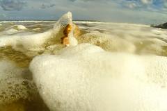 going under (Mark Rigler UK) Tags: blue sea sky wet water girl big surf top fat under going down lass foam jugs boob