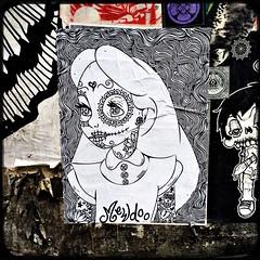 alice de los muertos (Chris Blakeley) Tags: seattle streetart diadelosmuertos pikeplacemarket aliceinwonderland calavera hipstamatic