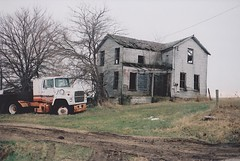 (littlehoneybee) Tags: house abandoned film rural 35mm illinois spring decay farm semitruck abandonment