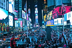 It never goes to sleep (kl.agneta) Tags: city nyc blue light people newyork america luces manhattan ciudad led timesquare awake publicity bigapple nuevayork pantallas