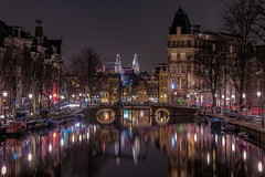 @ night (karinavera) Tags: street city longexposure travel urban reflection water netherlands colors amsterdam night canal exploration nikond5300