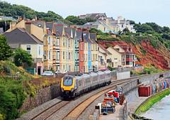 Passing Dawlish. (curly42) Tags: seaside railway seawall voyager express unit arriva dawlish dmu class221 axc