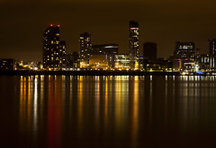 Liverpool Waterfront (David Chennell - DavidC.Photography) Tags: uk reflection night liverpool merseyside rivermersey