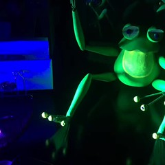 Knott's Bear-y Tales Frog under Blacklight (Althegamefreak) Tags: vintage disney retro blacklight 80s flourescent 70s knotts knottsberryfarm darkride knottsbearytales rollycrump knottsberrytales