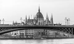 Bridge across Budapest Parliament House (Tacksoon) Tags: bridge cruise blackandwhite bw river boat budapest