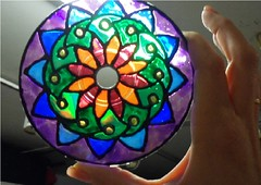 SAM_1975-a (~Mischa) Tags: design colorful paint circles patterns stainedglass suncatcher hanging projects windchimes cdart puffypaint glassstain plasticspheres liquidleading