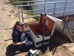 HTI-Laura-and-Brett-in-the-field-CCF-2016-04 (HTIsonar) Tags: fish water field mobile work solar tag tags research data acoustic dwr monitoring department survival tracking resources hti controllers loggers telemetry htisonar