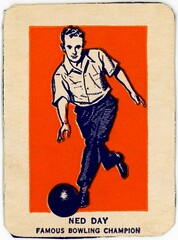 Ned Day, Famous Bowling Champion (Alan Mays) Tags: old blue orange men sports vintage paper cards day balls illustrations ephemera 1950s bowling boxes athletes cereals printed rounded borders champions bowlingballs wheaties 1952 corners tradingcards bowlers cerealboxes sportscards breakfastcereals nedday bowlingchampions wheatiescards