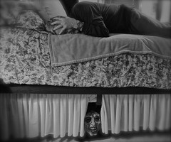 The Boogieman Under My Bed (ricko) Tags: bw selfportrait me bed mask scared childhoodmemory 2016 boogieman 9366 werehere