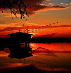 Sunrise (Cristina Tiurean Photography) Tags: red sun fish nature water sunrise river landscape boat fishing saline fishboat