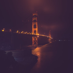 This foggy evening in San Francisco provided some incredibly eerie views of the Golden Gate Bridge (ohyeaphoto) Tags: sanfrancisco ca usa night goldengatebridge landsend sanfran fortpoint 3style 2areas